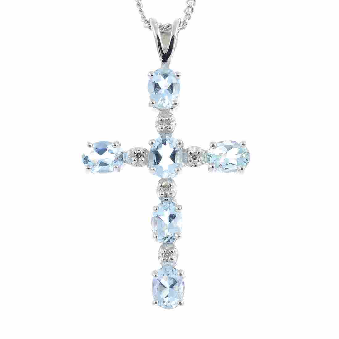 Two items of aquamarine and diamond jewellery. To