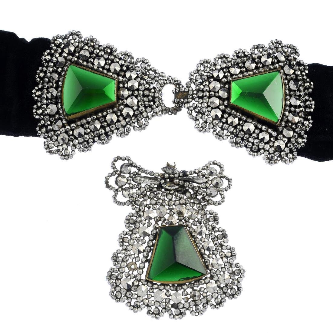 A set of mid Victorian green paste cut steel jewellery.