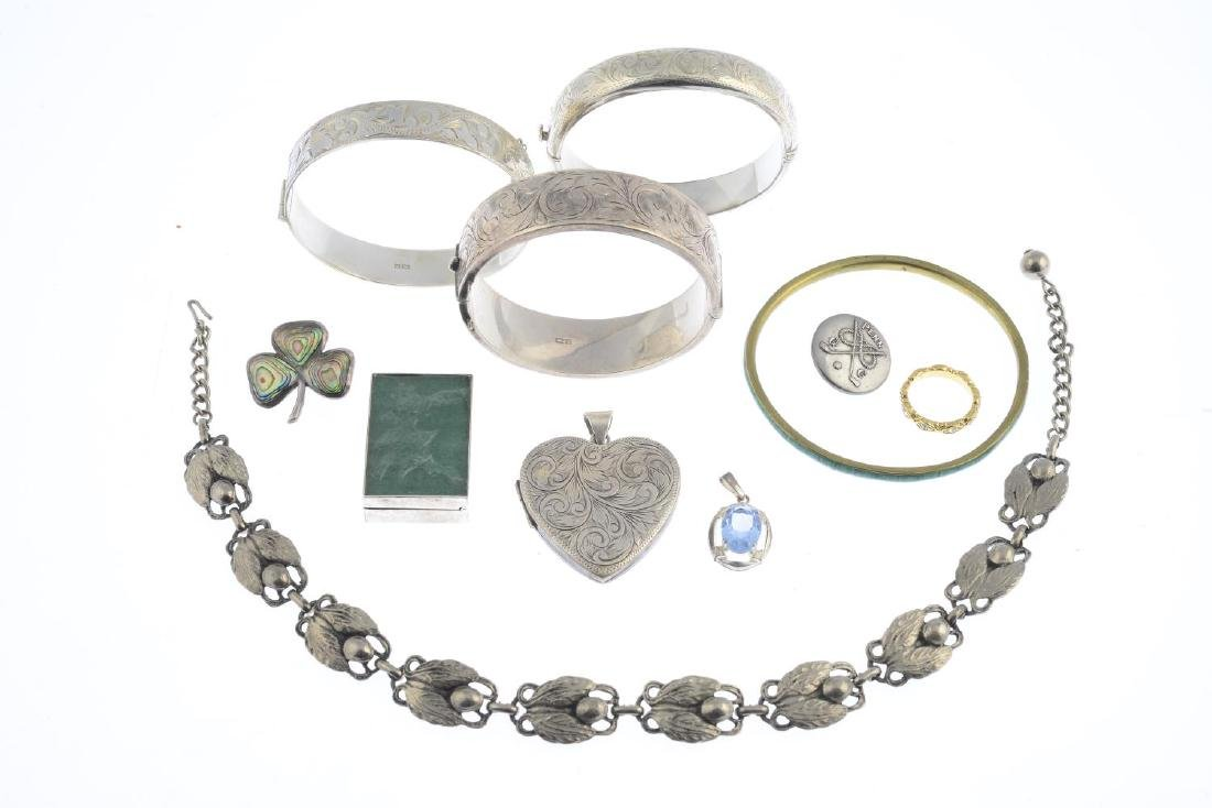A selection of jewellery. To include three silver - 2