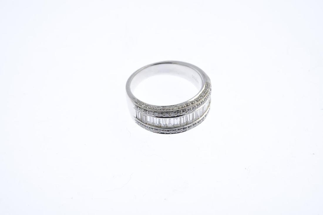 (21482) A diamond band ring. Designed as a baguette-cut - 3
