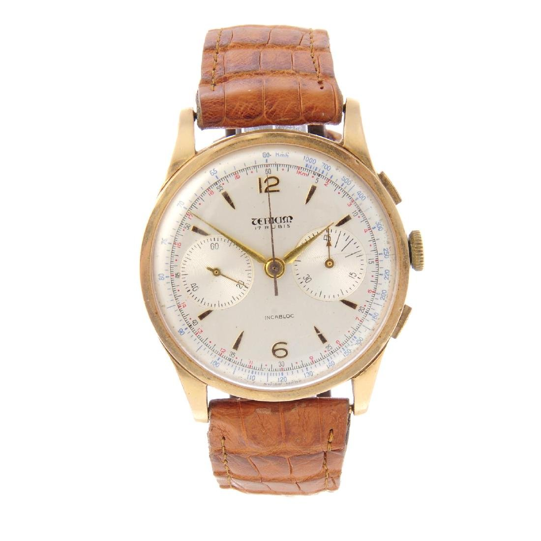 TERIAM - a gentleman's chronograph wrist watch. Yellow