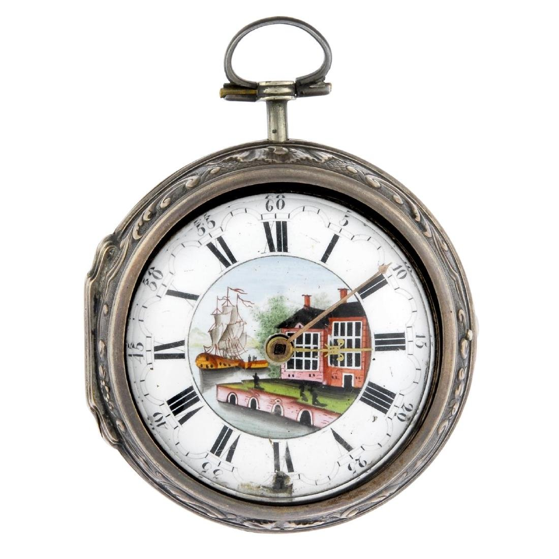A pair case pocket watch by Wilter. White metal cases.