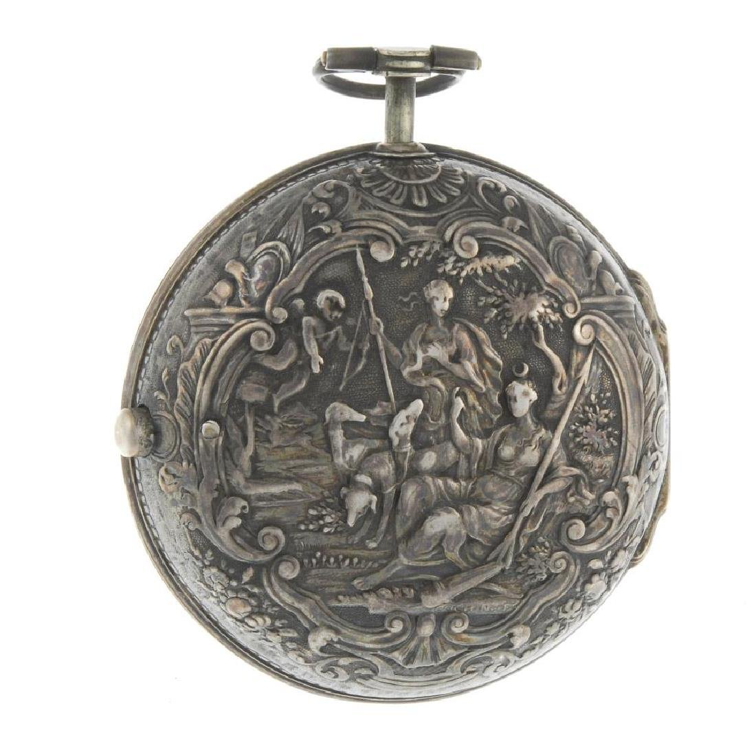 A pair case pocket watch by Wilter. White metal cases. - 2