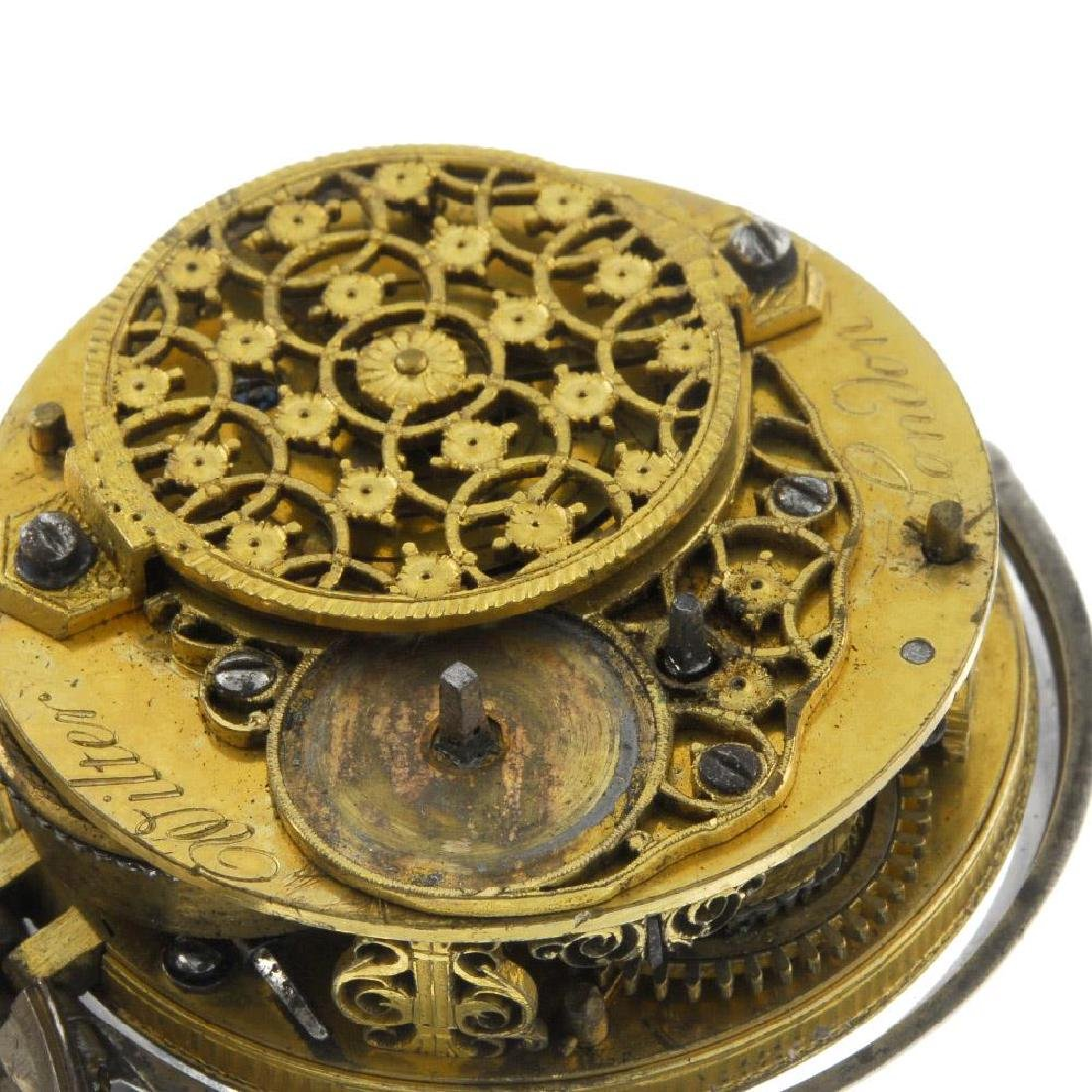 A pair case pocket watch by Wilter. White metal cases. - 4