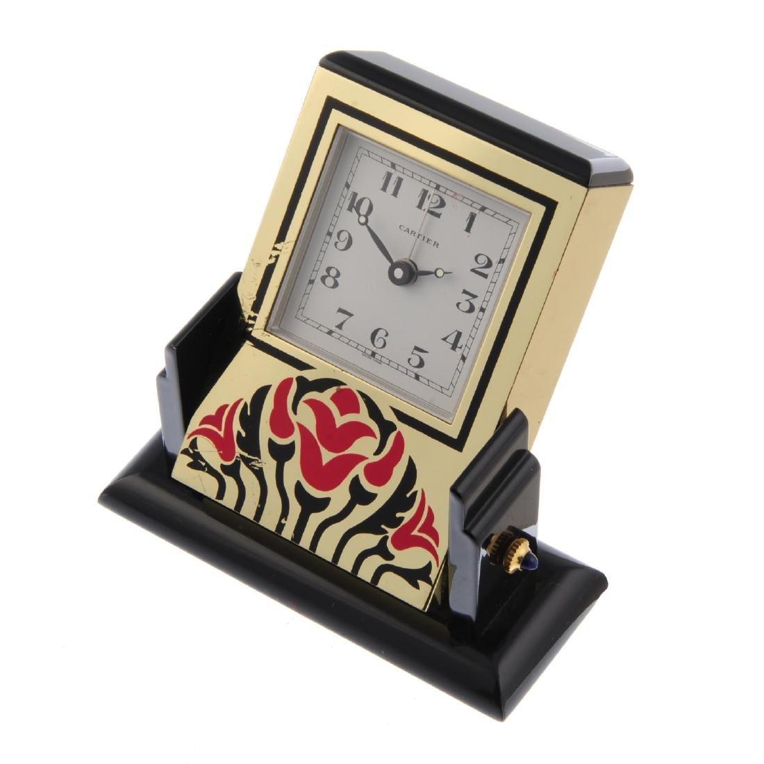 An alarm mantle clock by Cartier. Bi-material case. - 3
