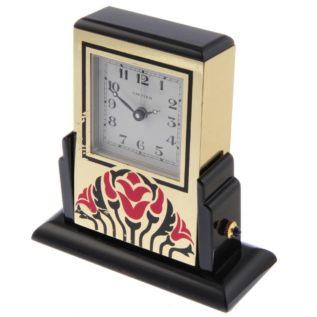 An alarm mantle clock by Cartier. Bi-material case. - 4