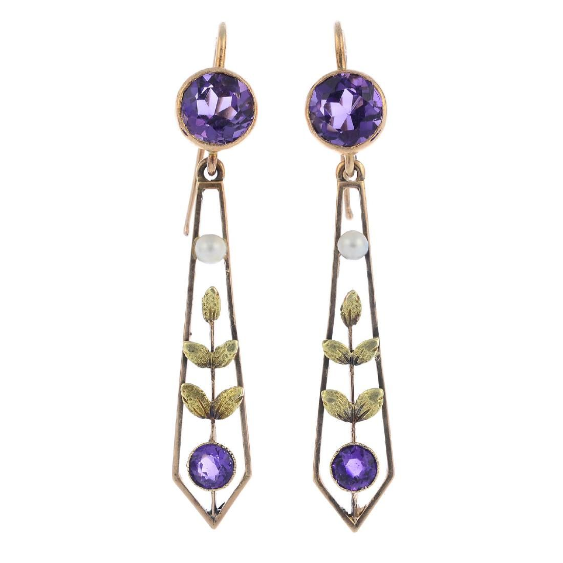 A pair of Edwardian 9ct gold amethyst and split pearl