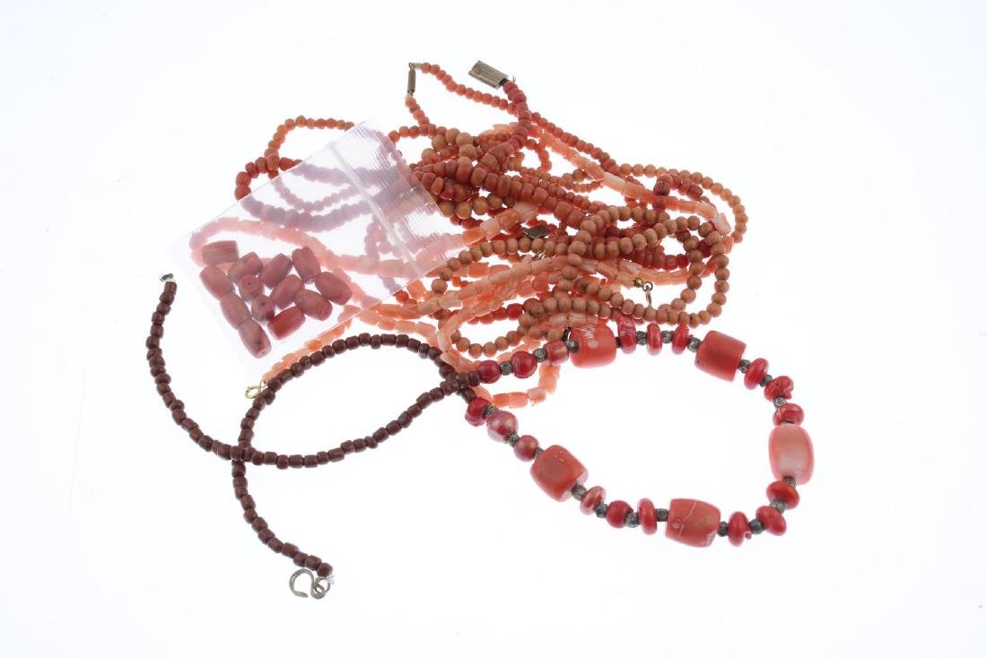 Eight assorted coral and glass necklaces and thirteen - 2