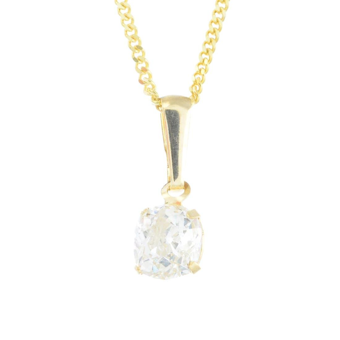 A diamond pendant. The brilliant-cut diamond, with