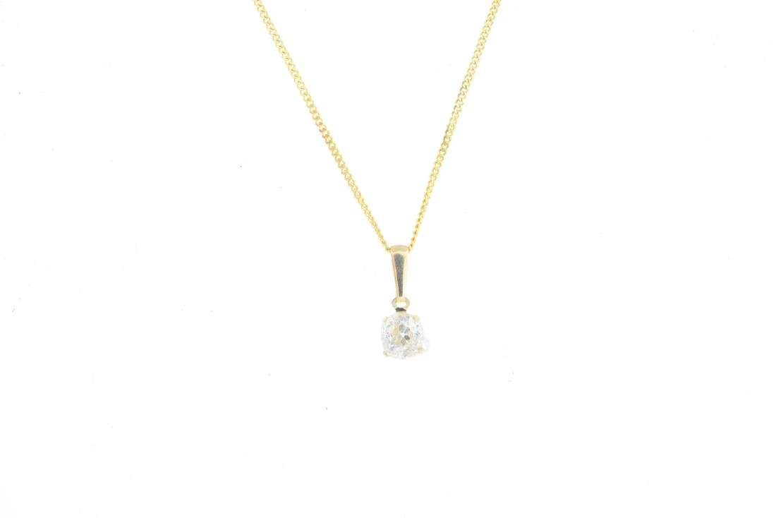 A diamond pendant. The brilliant-cut diamond, with - 2