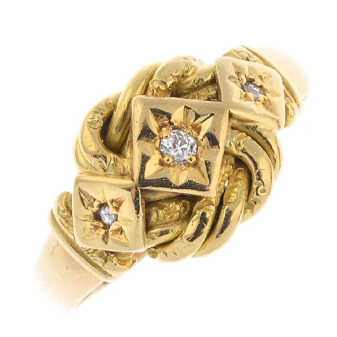An early 20th century 18ct gold diamond ring. Designed