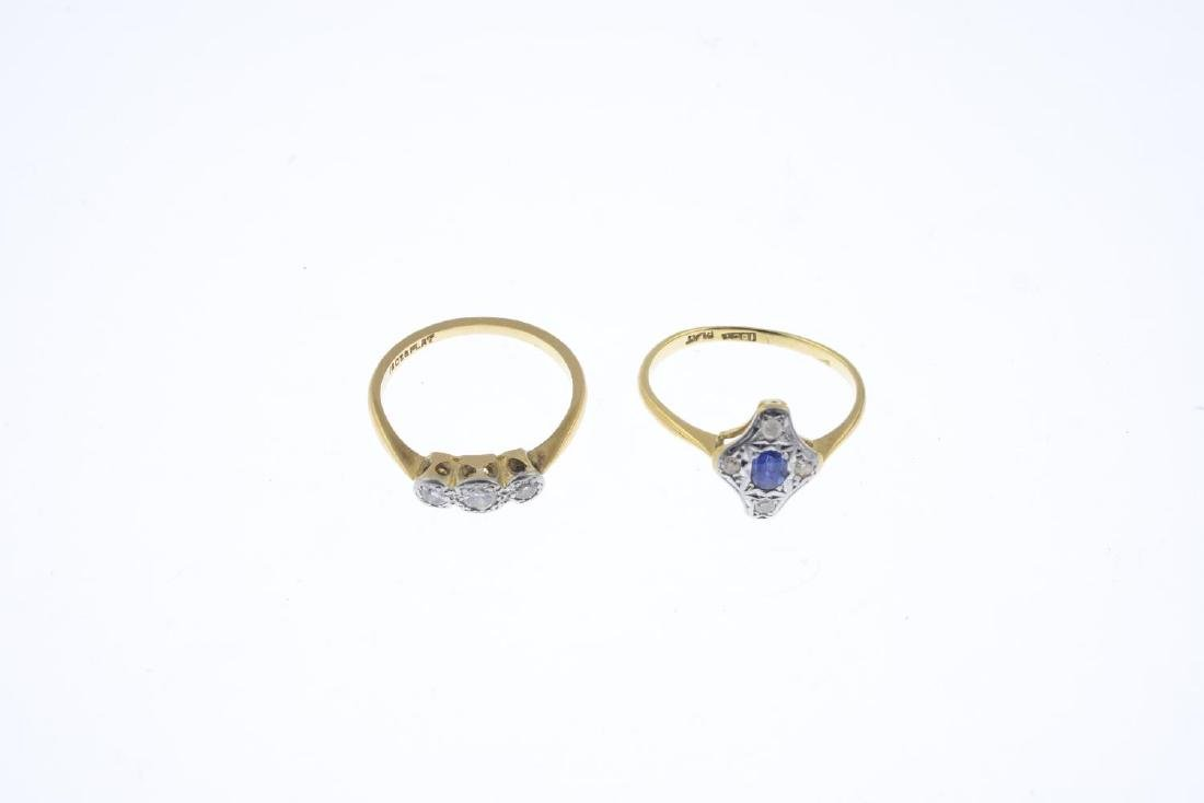 Two mid 20th century 18ct gold and platinum, diamond - 2