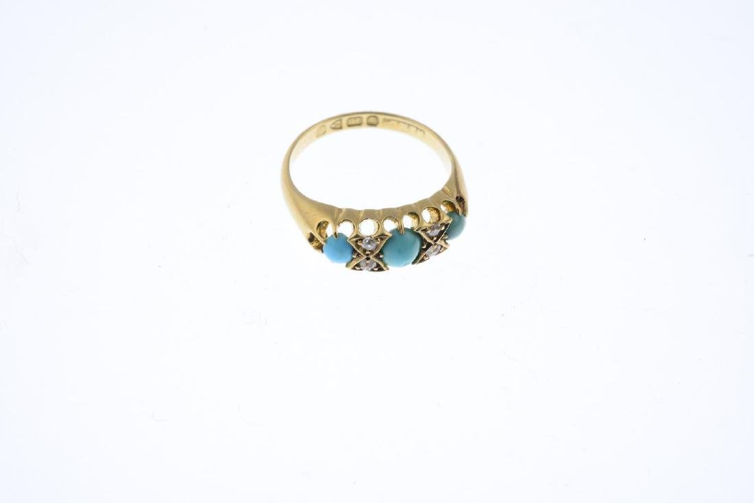 An early 20th century 18ct gold turquoise and diamond - 3
