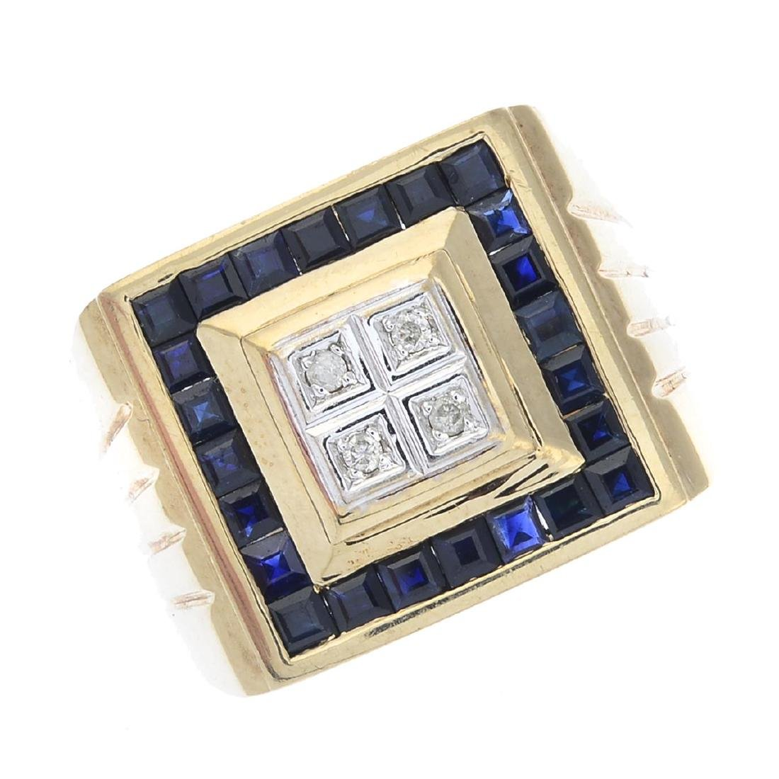 A gentleman's 9ct gold sapphire and diamond ring. Of