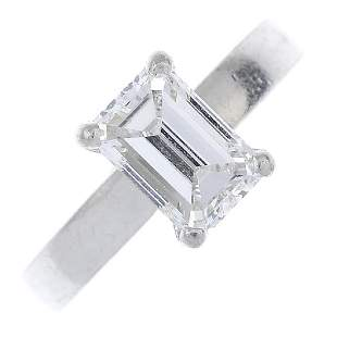 A platinum diamond single-stone ring. The