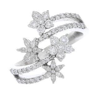 A diamond crossover ring The brilliantcut diamond