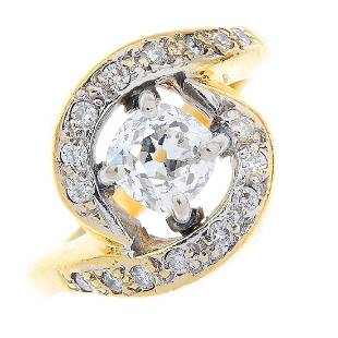 A 22ct gold diamond singlestone ring The oldcut