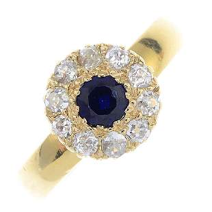 A late Victorian 18ct gold sapphire and diamond cluster