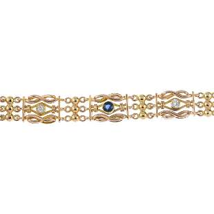 A sapphire and diamond bracelet Designed as an