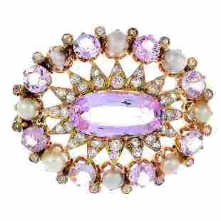 An early 20th century gold gemset brooch The