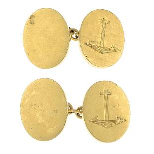 A pair of mid 20th century 18ct gold cufflinks Each