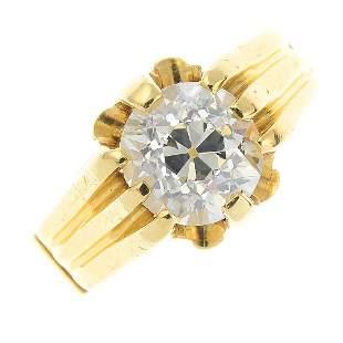 A diamond singlestone ring The oldcut diamond with