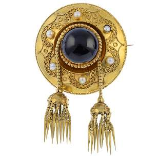A late Victorian 18ct gold garnet and split pearl