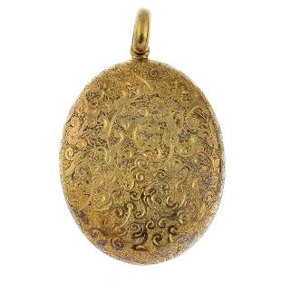 A late Victorian 18ct gold locket Of oval outline