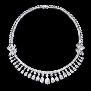 An impressive diamond fringe necklace. The pear-shape