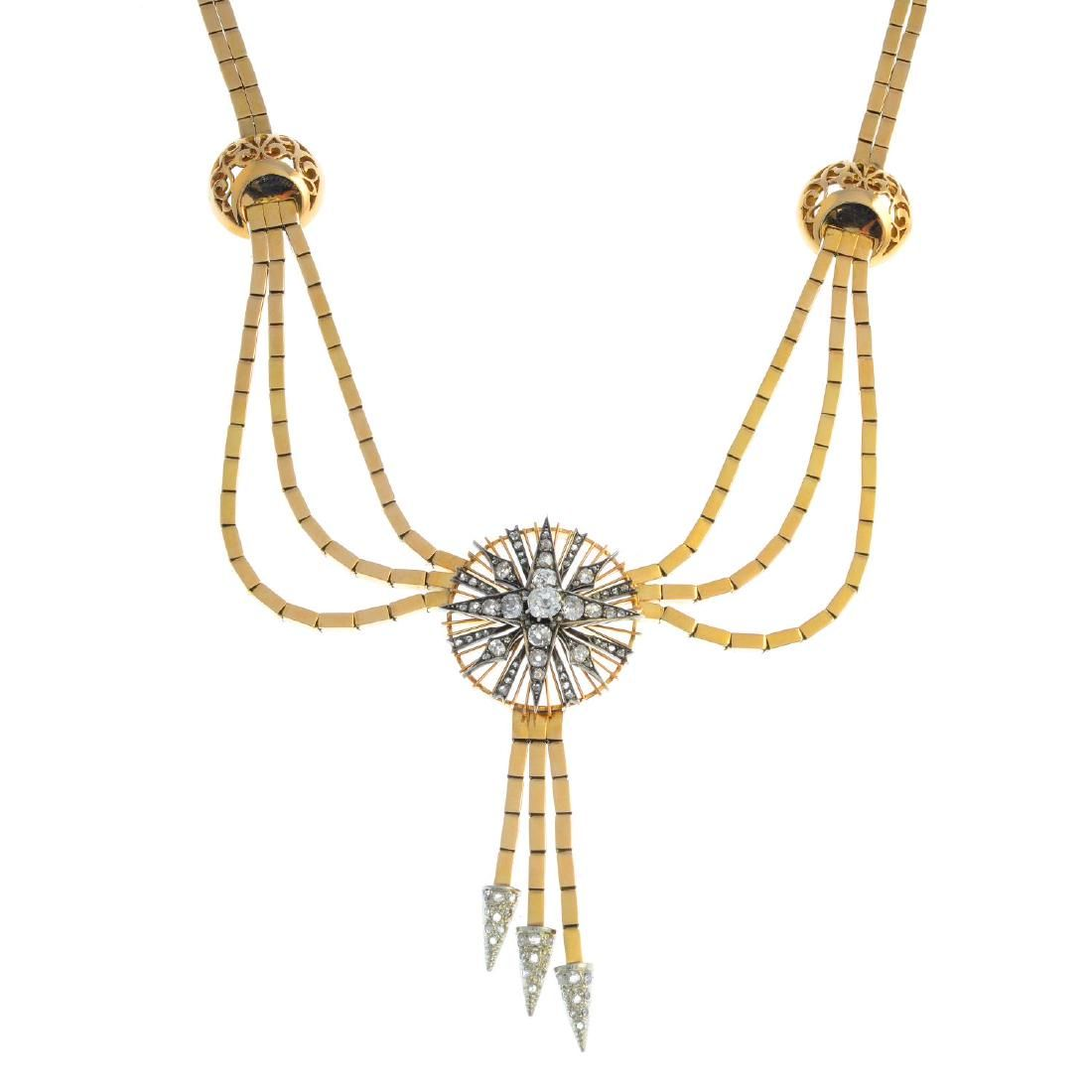 A mid 20th century 18ct gold diamond necklace. The