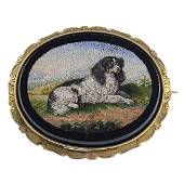 A late Victorian gold micro mosaic brooch. The oval