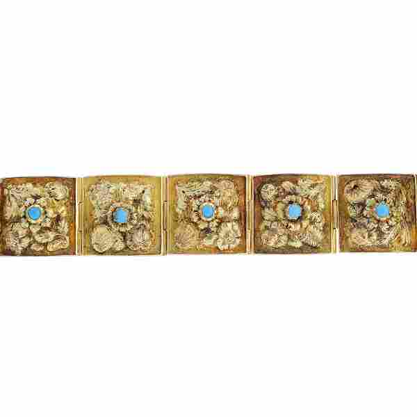 A late Victorian gold turquoise bracelet. Designed as a