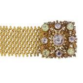 An early 19th century 18ct gold gem-set bracelet.
