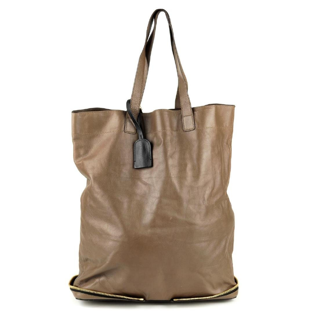 CHLOÉ - a leather Ellen tote. Crafted from taupe brown