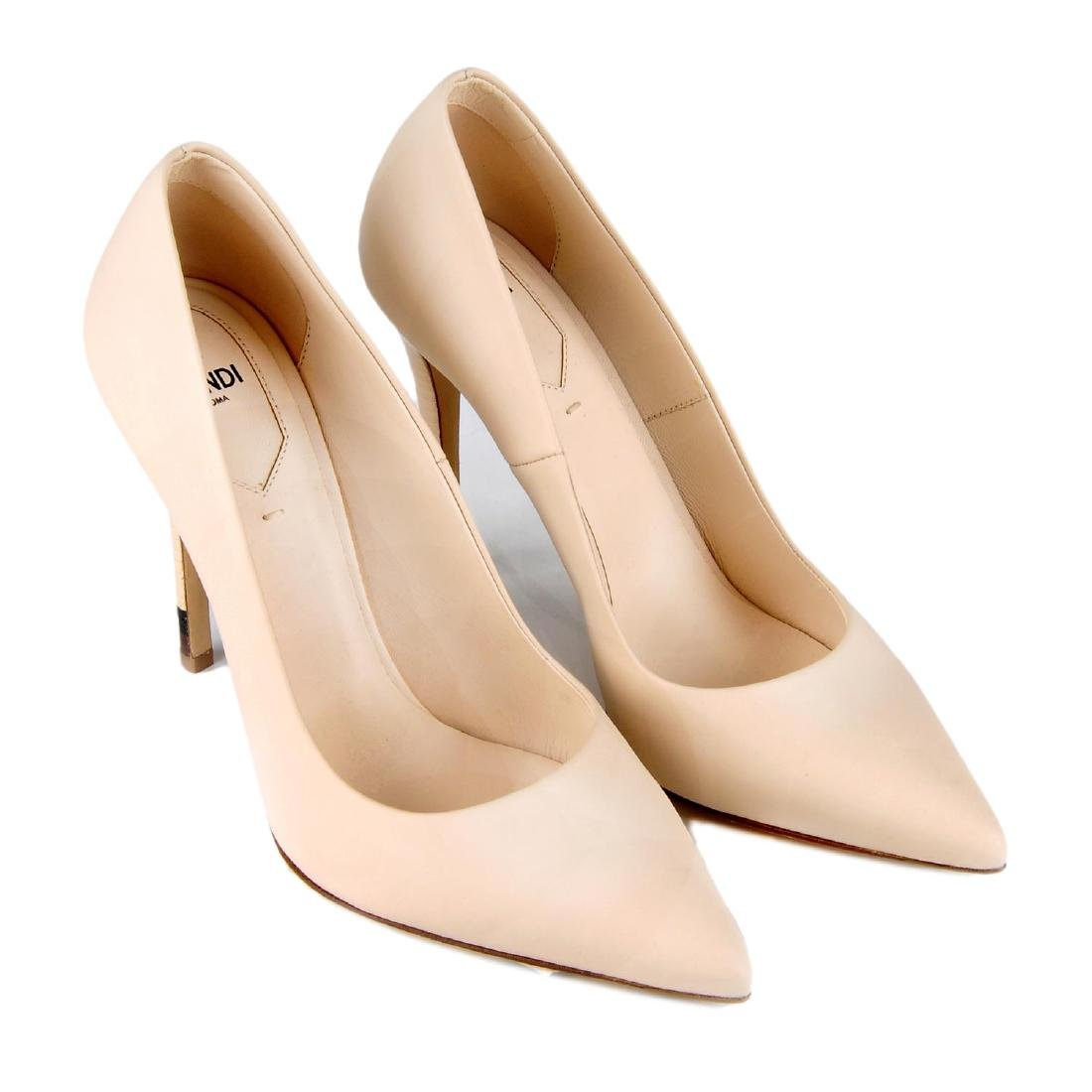 FENDI - a pair of nude pink calfskin leather court