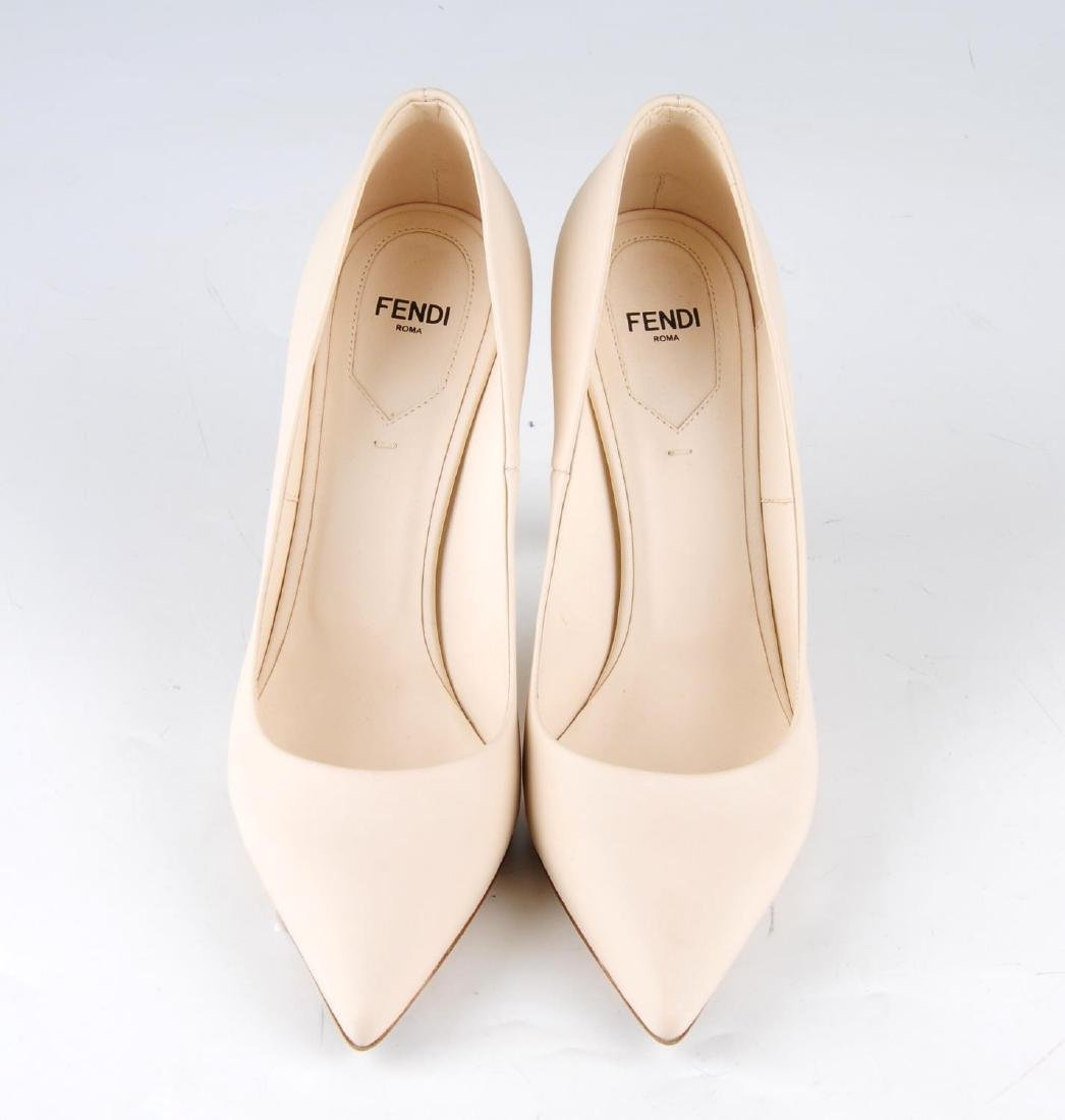 FENDI - a pair of nude pink calfskin leather court - 3
