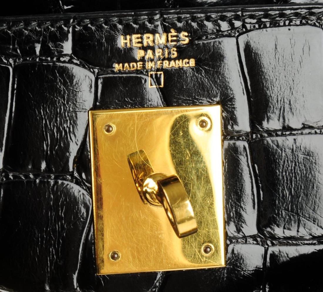 HERMÈS - a 1991 black Porosus Crocodile Kelly 32 - 5