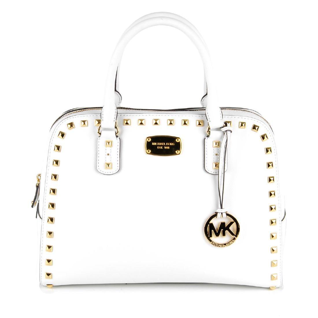 MICHAEL KORS - a white Medium Saffiano Stud satchel.