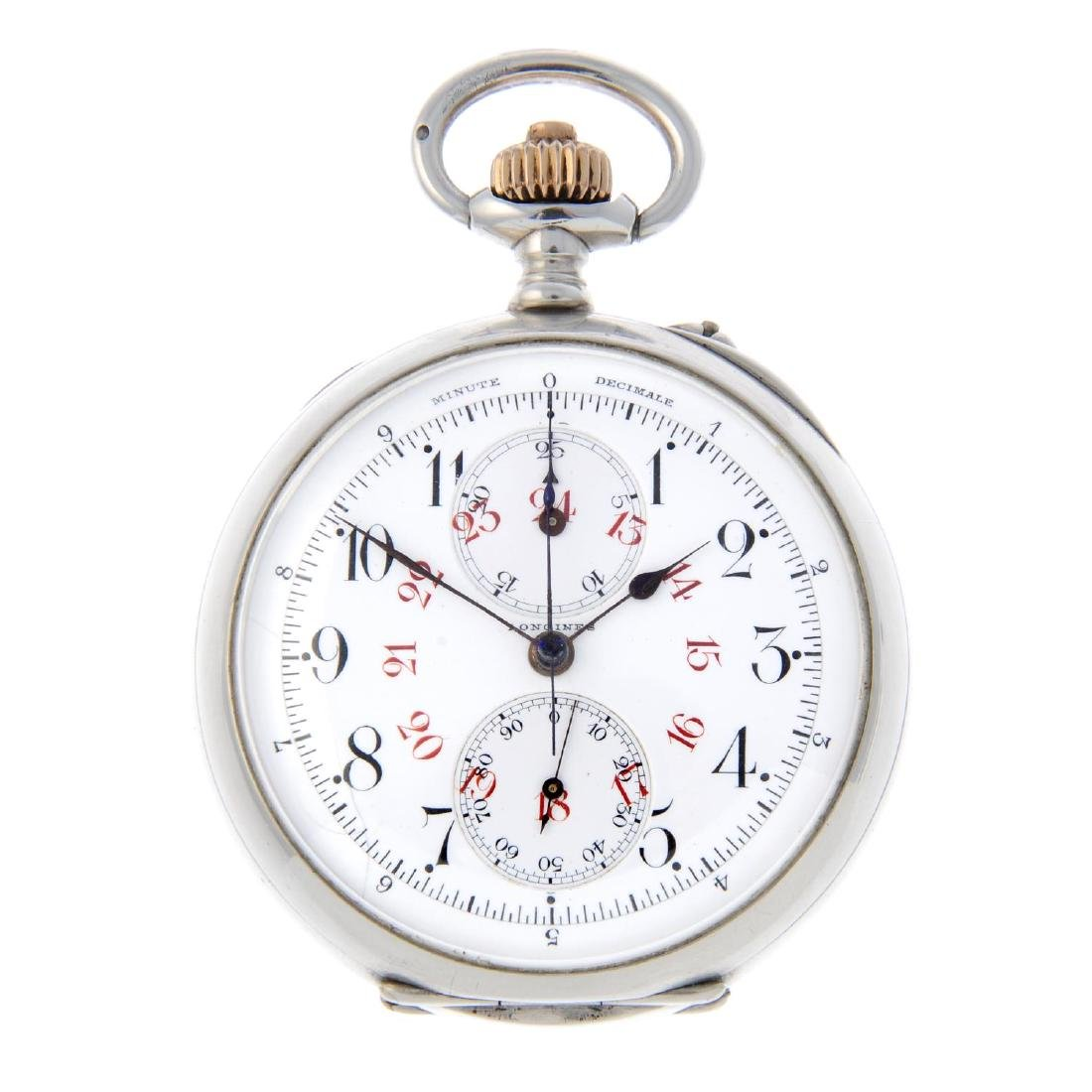 A dual dial chronograph pocket watch by Longines. White