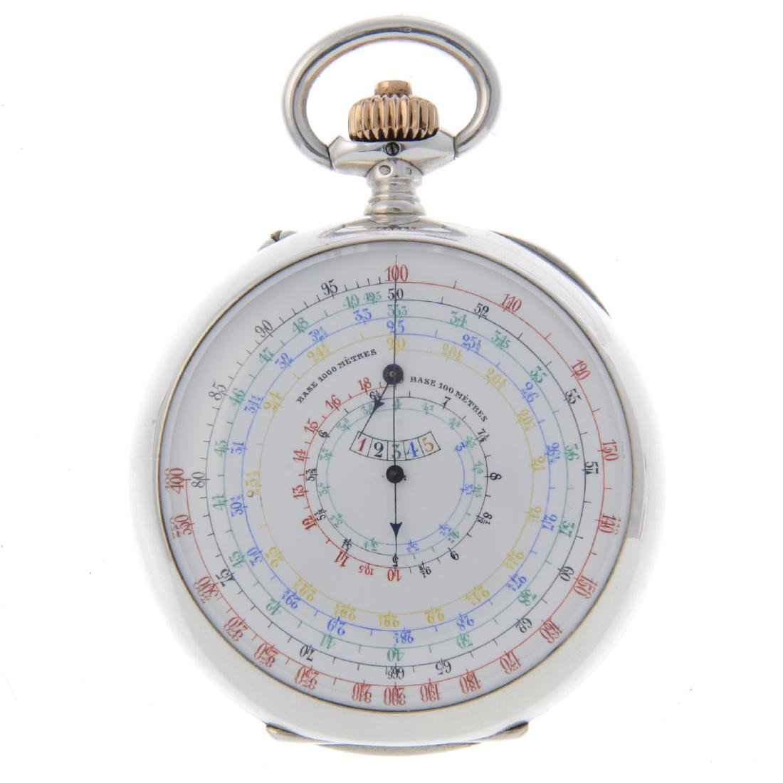 A dual dial chronograph pocket watch by Longines. White - 2