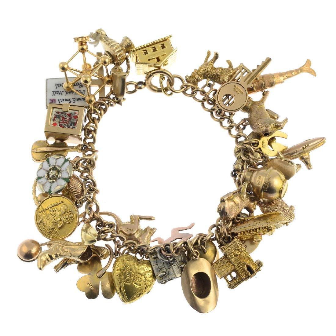A charm bracelet. The curb-link chain, suspending a