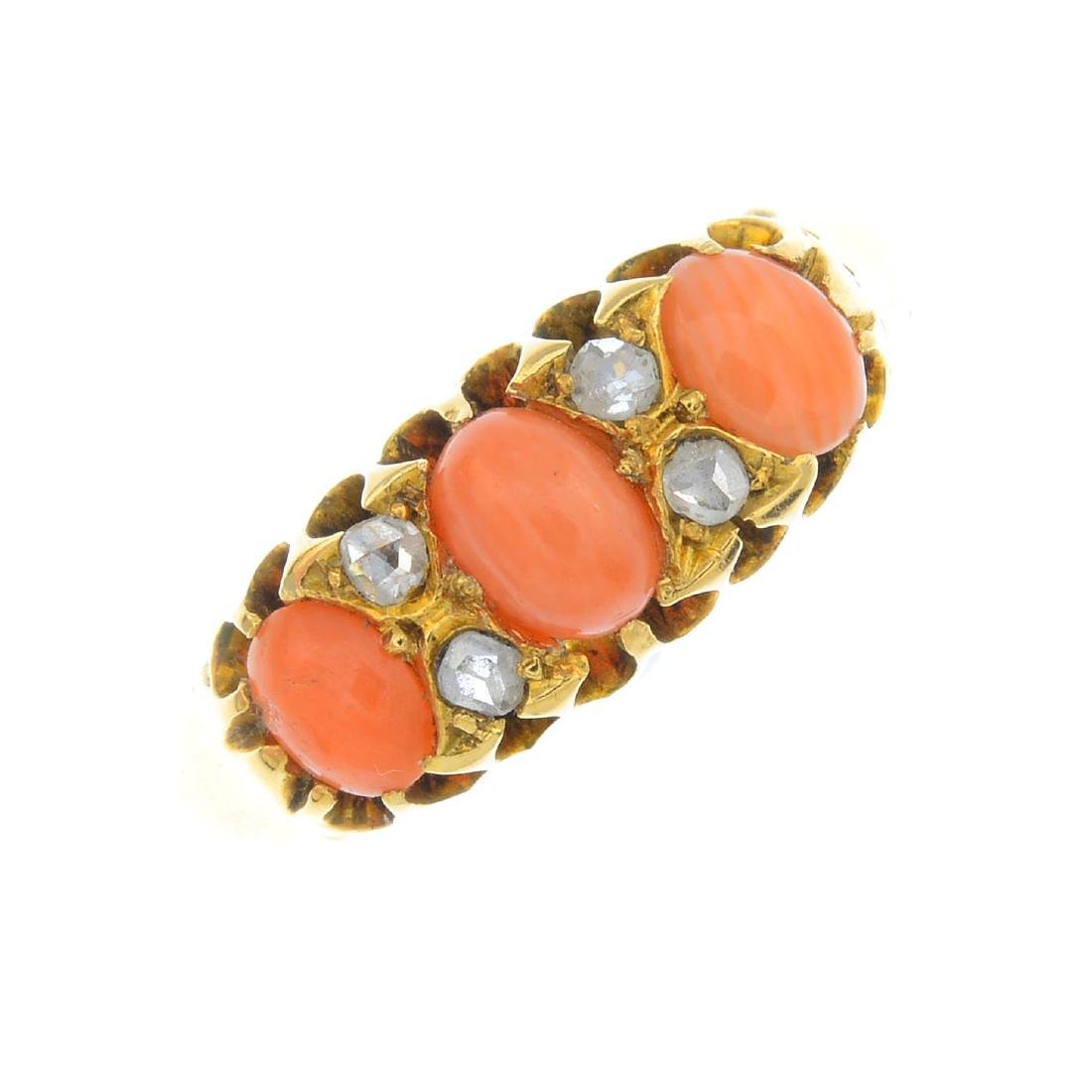 A late Victorian 18ct gold coral and diamond ring. The