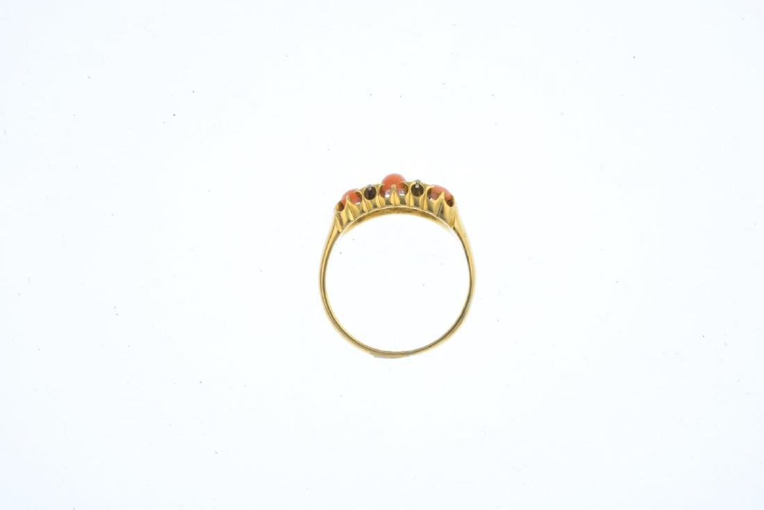 A late Victorian 18ct gold coral and diamond ring. The - 2