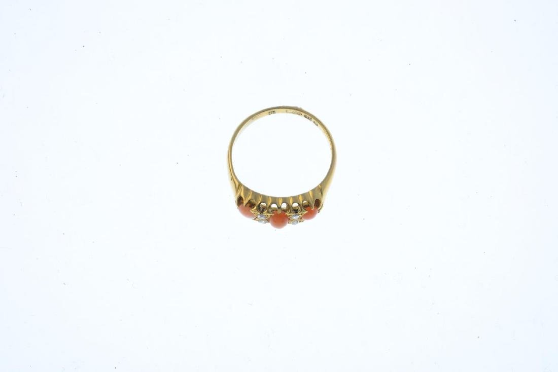 A late Victorian 18ct gold coral and diamond ring. The - 3
