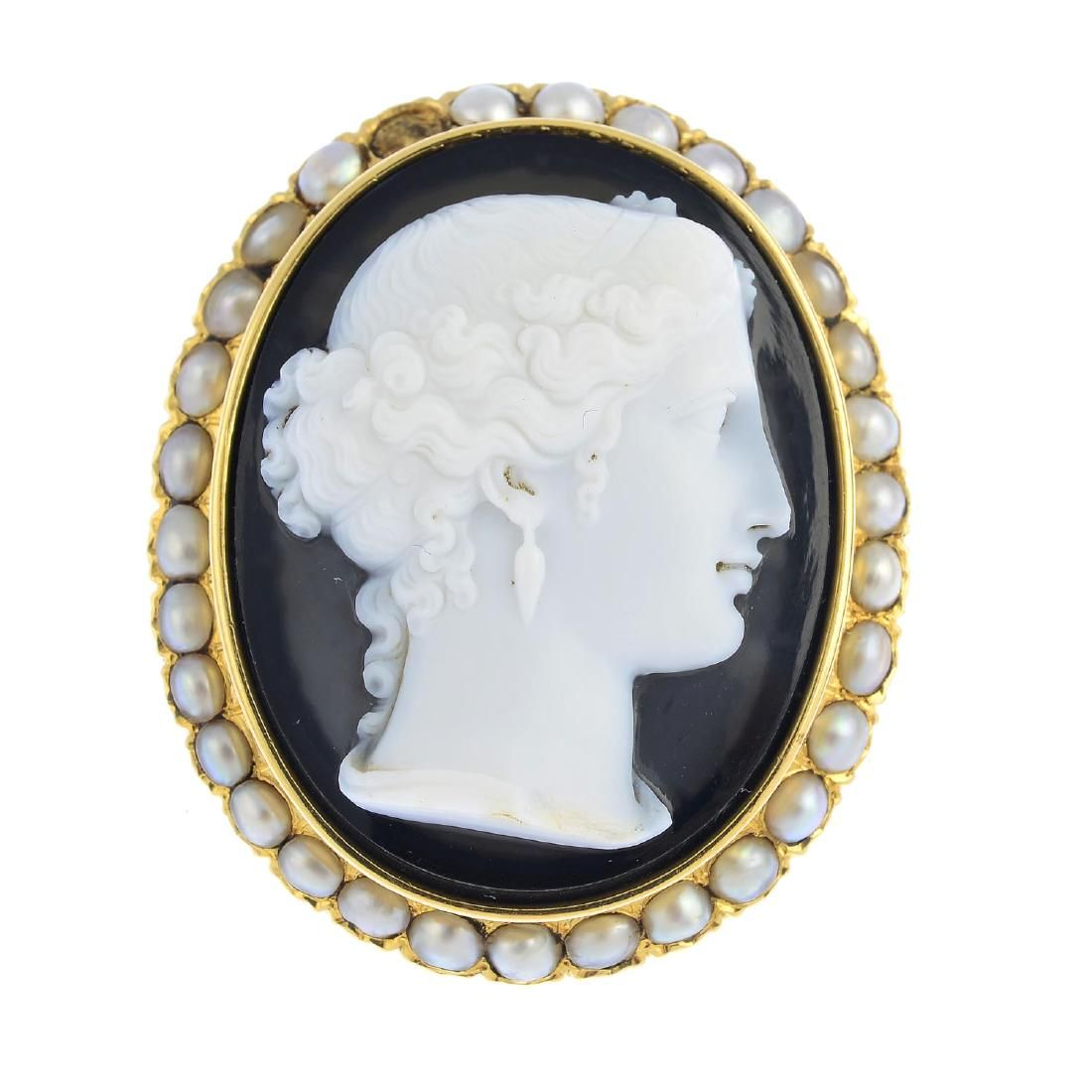 A late Victorian gold agate and split pearl cameo