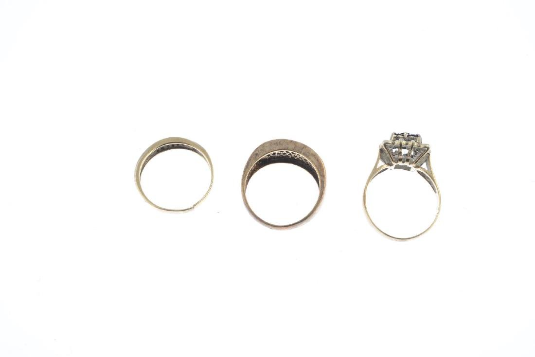 Three 9ct gold sapphire and diamond rings. To include a - 2