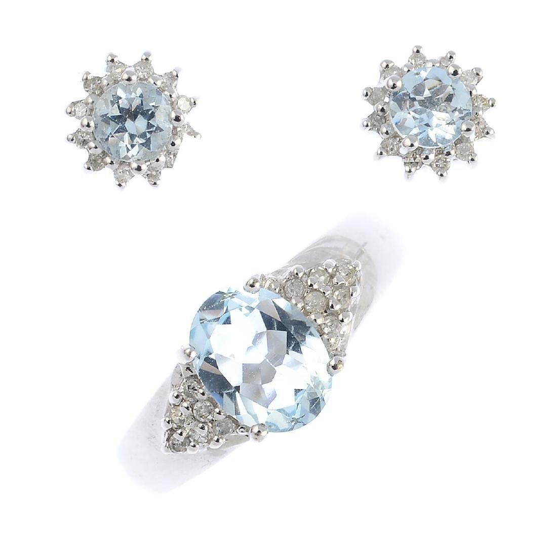 A selection of aquamarine and diamond jewellery To