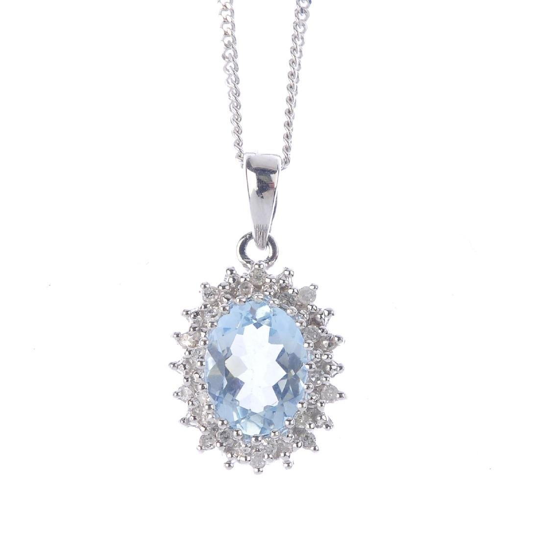 A set of aquamarine and diamond jewellery. To include a
