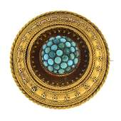 A late Victorian 18ct gold turquoise brooch Designed