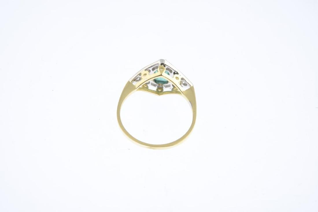 An emerald and diamond dress ring. The - 3